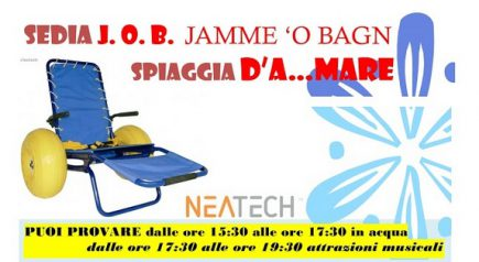 """""""Jamme 'o bagn"""": sabato 10 settembre Mare Per Tutti con la Sedia Job a Sant'Angelo"""